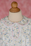 Riley Top in Bird Floral with Pink Pique and Swiss Lace