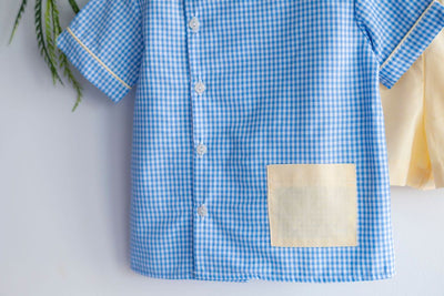 Seth Top in Blue Check (#1) with Yellow Chambray (#26)