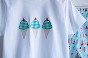 Pima Tee in White with Ice Cream Applique