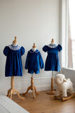 Marie Dress in Royal Blue Velveteen with Spanish Netting
