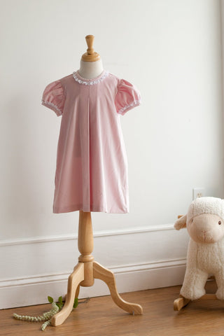 Bobby Apron Dress in Pink Velveteen with Swiss Lace