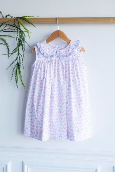 Libby Dress in Rosemary Bikes (#59) with Lavender Check (#2)