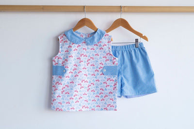 Boy Reversible Short in Blue Check (#1) reversed with Blue Chambray (#34)