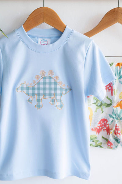 Pima Tee in Blue with Dinosaur Applique