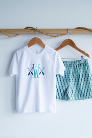 Pima Tee in White with Paddle Embroidery