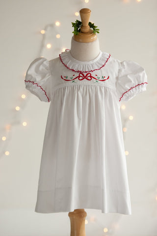 White Heirloom Christmas Marie Dress with Swiss Lace