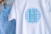 Pima Tee in White with Circle Initial Patch