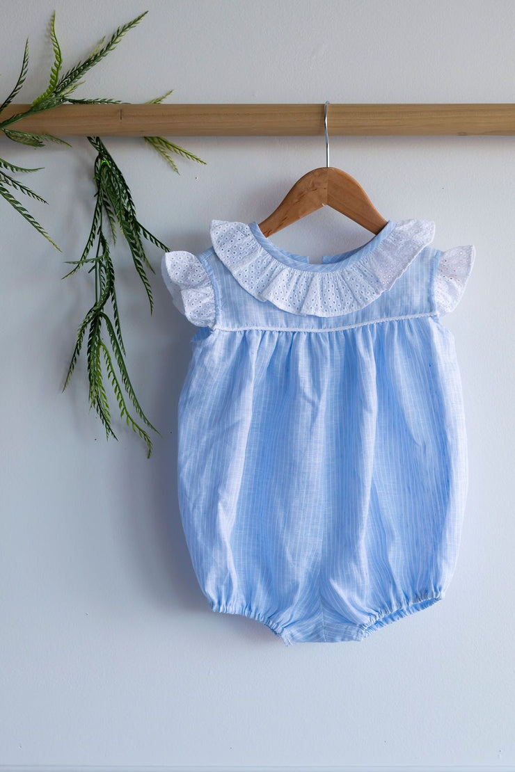 Blair Bubble in Blue Stripe Linen (#16) with Alys Beach Eyelet (#49)