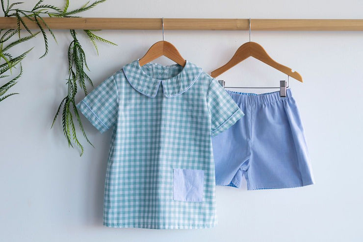 Patton Top in Jade Check (#21)