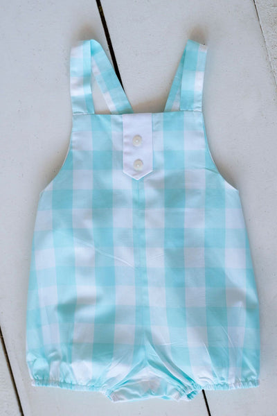 "Marty Sunsuit in 1"" Aqua Check (#22) with White Pique (#27)"