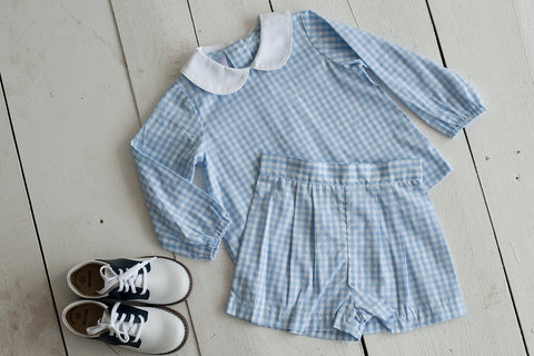 Boy Pleated Short in Blue Check