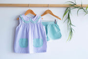 Poppy Top in Lavender Check (#2) with Apple Green Check (#3)