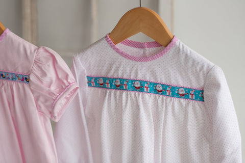 Brigitte Ribbon Top in Pink Dot Pique with Christmas Trim
