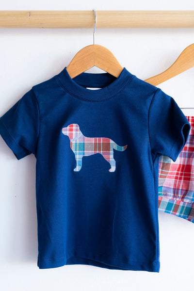Pima Tee in Navy with Dog Applique
