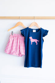 Flutter Tee in Navy with Dog Applique