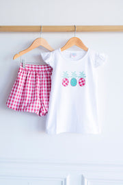 Flutter Tee in White with Pineapple Applique