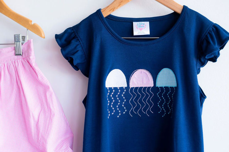 Flutter Pima Tee in Navy with Jellyfish Applique