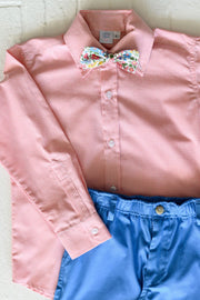 Boy Button Down in Coral Gingham