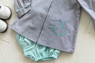Boy Bloomer in Aqua Corduroy