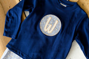 Navy Pima Boy Tee with Initial Patch Applique