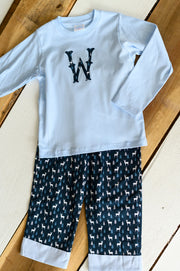 Boy Cuff Pant in Navy Deer and Blue Gingham