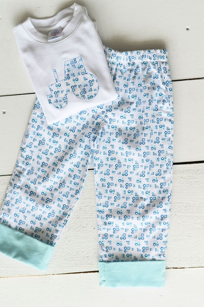 Boy Cuff Pant in Tractor and Aqua Corduroy