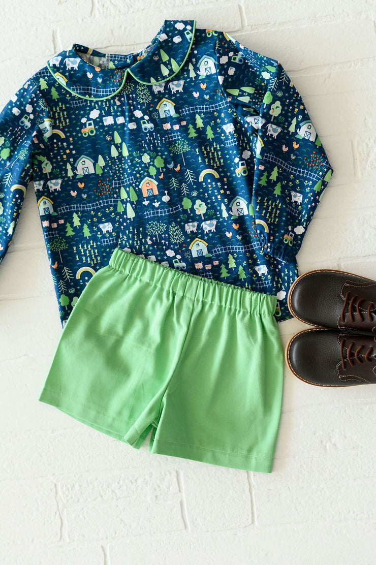 Boy Plain Short in Grass Green Twill