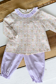 Zoe Top in Pink Deer and Lilac Corduroy