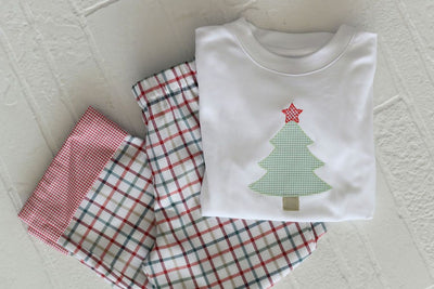 White Pima Boy Tee with Christmas Tree