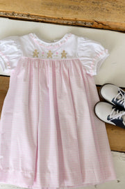 Charlotte Dress in Large Pink Windowpane, White Pique with Pink Lace (Trim D) and Gingerbread Embroidery