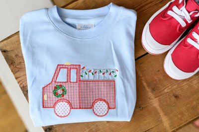 Blue Pima Boy Tee with Christmas Firetruck