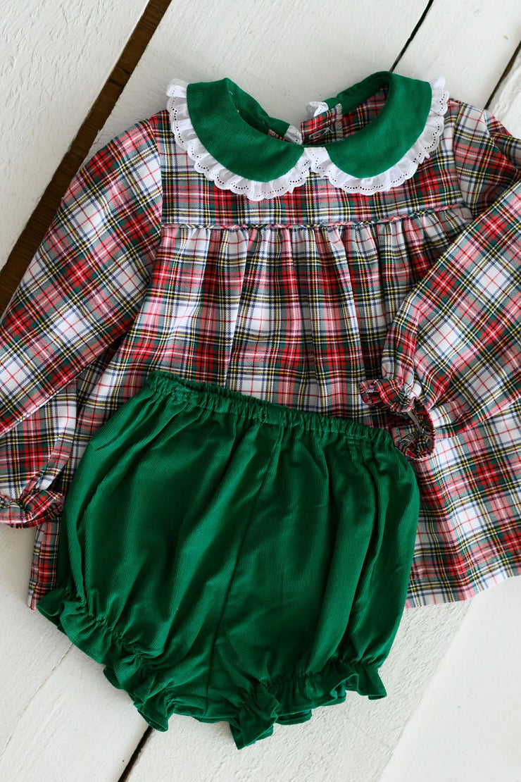 Sally Top in Classic Tartan and Kelly Corduroy with Small White Lace (Trim B)