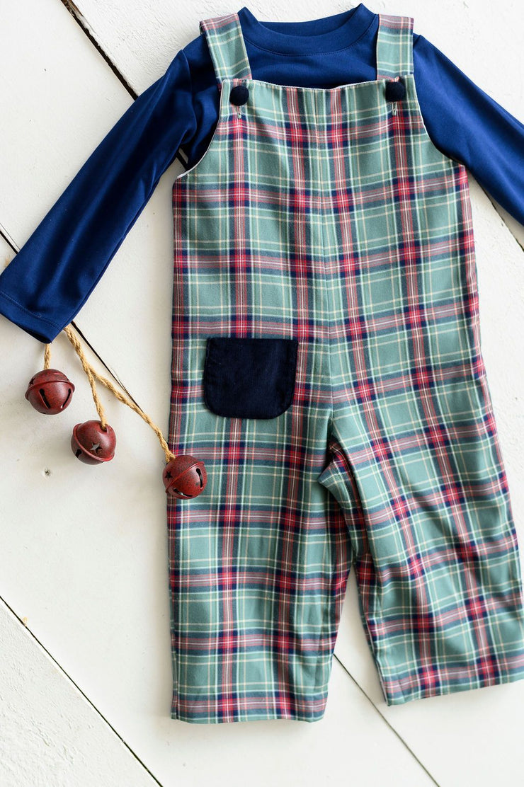 Max Long Overall in Green Tartan and Navy Corduroy, Lined