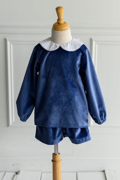 Edward Top in Royal Velvet and White Pique with White Edging (Trim E)