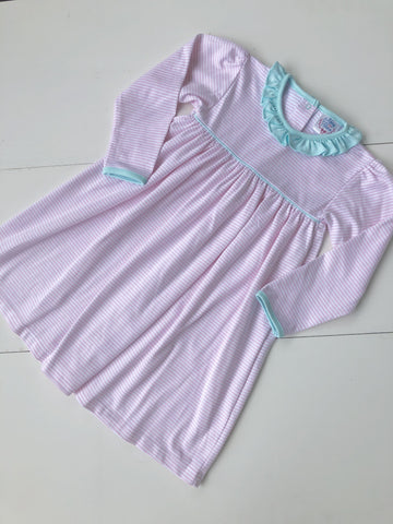 Girl Pima Play Dress in Pink Stripe with Seafoam Accents