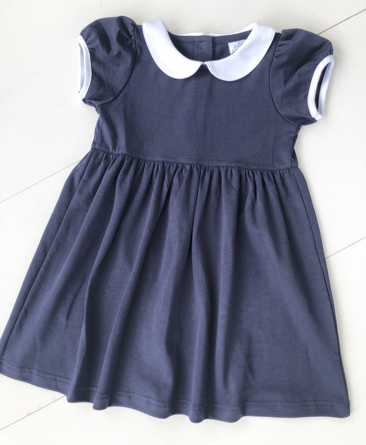 Pima Peter Pan Collar Dress in Navy