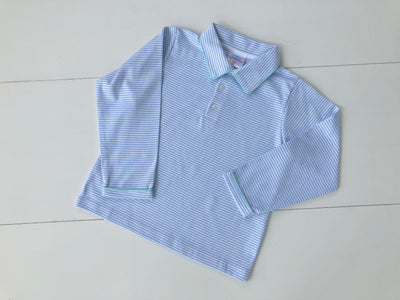 Boys Pima Polo in Blue Stripe with Seafoam Accents