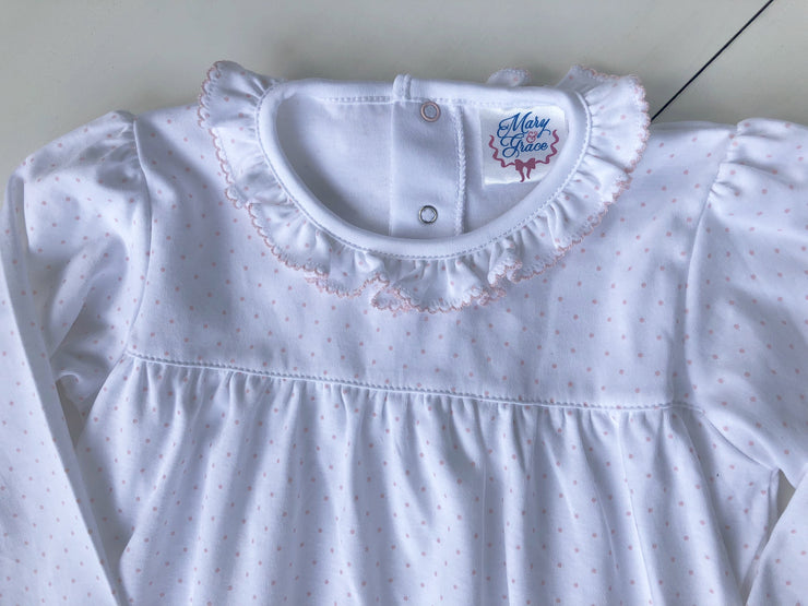 Girl Loungewear in Pink Dot with Picot Trim