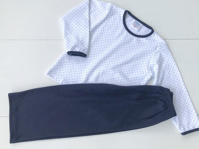 Boys 2 Piece Pima Set in Navy Mini Dot