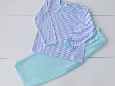 Boys 2 Piece Pima Set in Blue Stripe with Seafoam