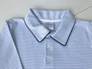 Boys Pima Polo in Blue Stripe with Navy Blue Accents