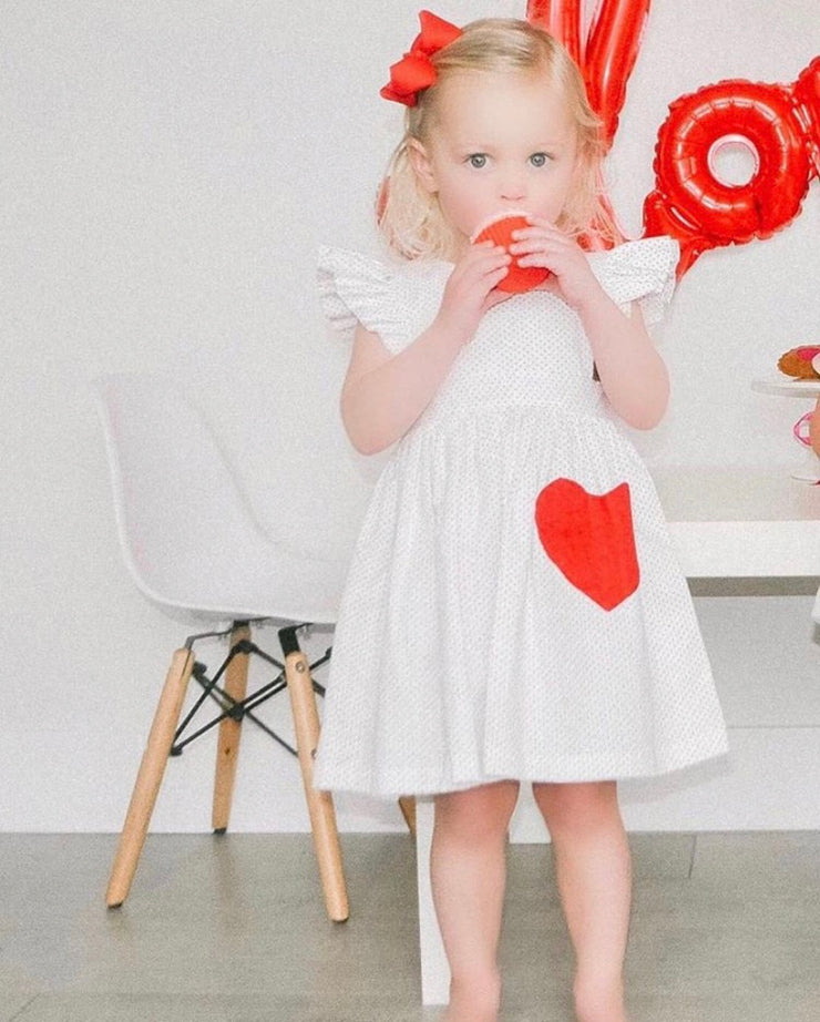 Ellie Heart Pinafore in Red Dot (PRE-ORDER)