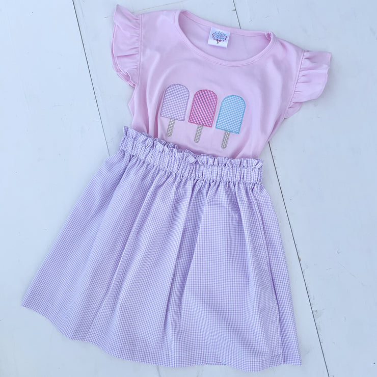 Girls Pink Flutter Sleeve Pima Applique Tee with Popsicles