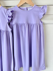 Pima Flutter Dress in Lilac with White Picot Trim