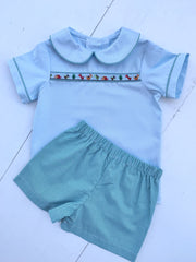 Tyler Ribbon Top in Blue Pique with Dinosaur Trim