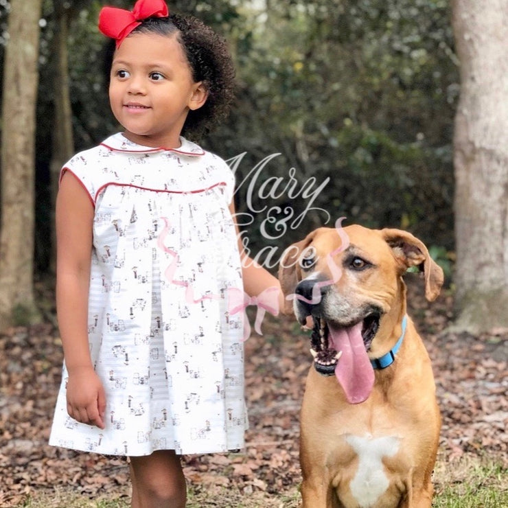 SALE! 50% OFF! Lucy Dress in Vintage Girl Dog Print (IN STOCK)