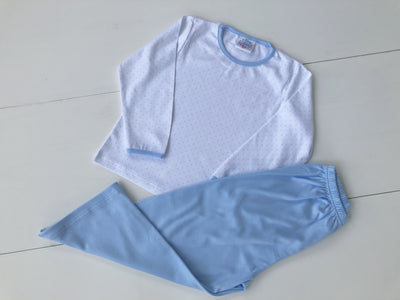 Boys 2 Piece Pima Set in Blue Mini Dot