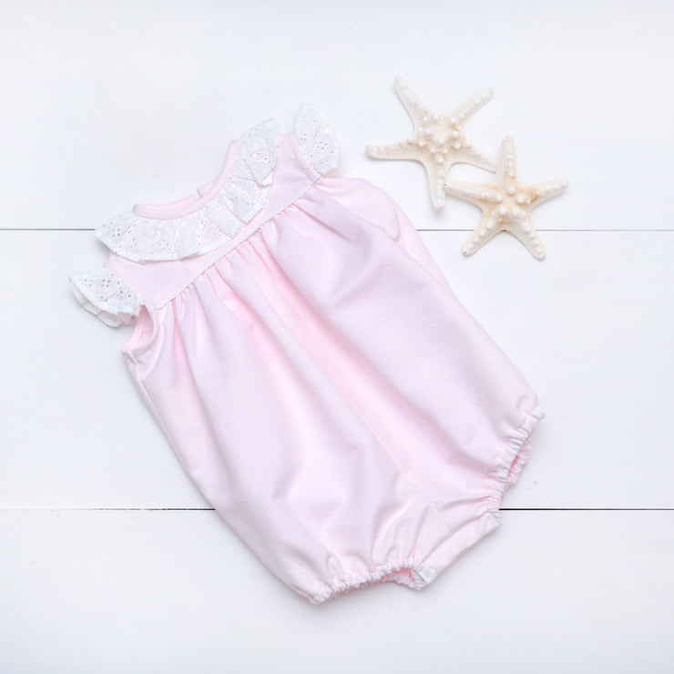 Blaire Bubble in Pink Embroidered Starfish Pique w/ White Eyelet