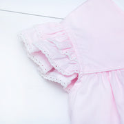 Double Flutter Top in Pink Superfine Twill w/ Swiss Trim