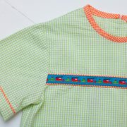 Tucker Ribbon Top in Lime Check Seersucker w/ Cars Ribbon and Orange Gingham
